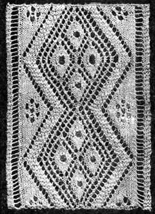 Wide knit insertion with diamond patterning