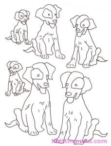 Vintage dogs embroidery pattern