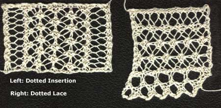 Knitted open lace edging and insertion