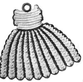Potholder in the shape of a vintage dress