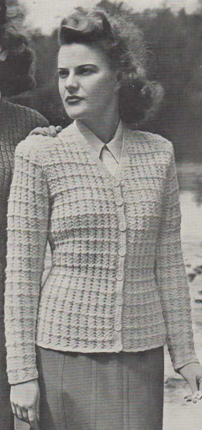 Vintage cardigan with long sleeves, v neck and textured stitch pattern