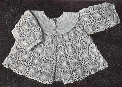 long sleeve baby jacket made fromm loomed flowers