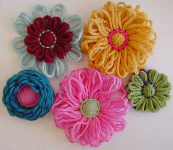 Five loomed flowers