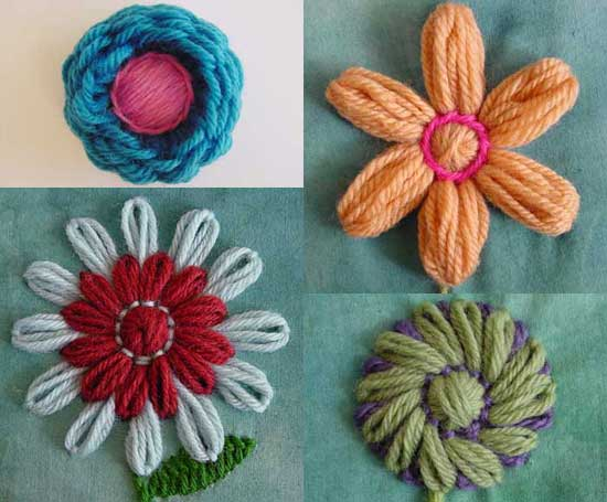 Embroidery with loomed flowers