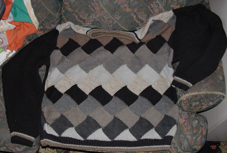 Entrelac sweater or jumper