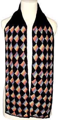 Garter stitch entrelac scarf