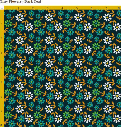 Dark teal fabric with small white flowers. Available on Spoonflower