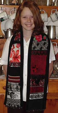Red and black patchwork scarf