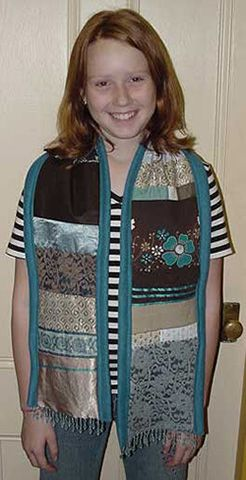 Brown and blue patchwork scarf