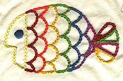 Hand embroidered rainbow fish in chain stitch