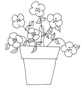 Flowers in a pot embroidery pattern
