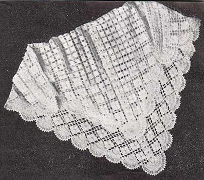 bobble and diamond corchet baby shawl