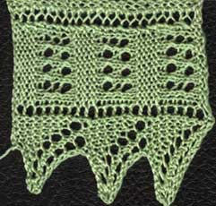 Knitted geometric lace edging