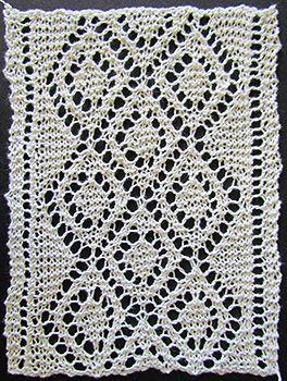 Diamond lace insertion knit form a Victorian era knitting pattern.