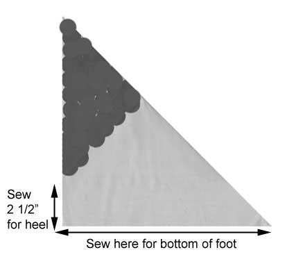 Knit slipper diagram