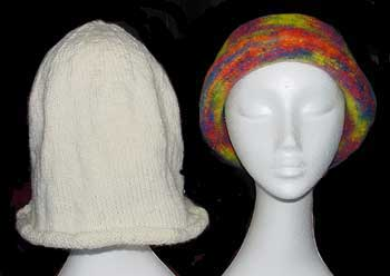 Knitted hat before and after felting
