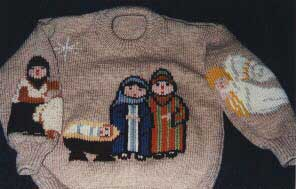 Knitted holy family
