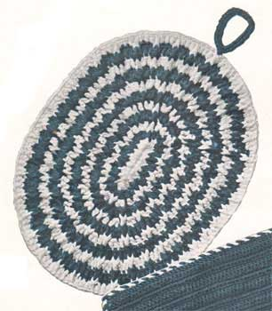 Oval shapedpotholder with stripes