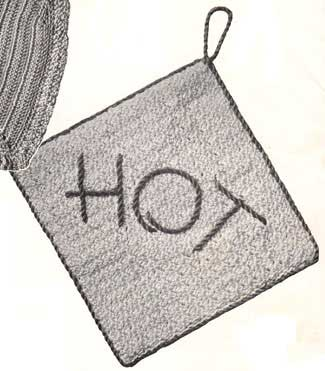 Square potholder with edging and the word hot embroidered on it