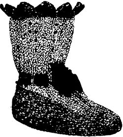 Drawing of Victorian knitted baby booties