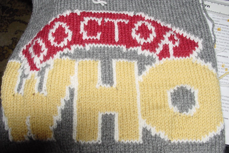 Intarsia knit Doctor Who logo