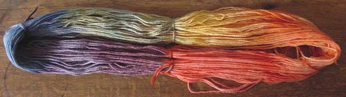 Hand dyed ranbow colored wool