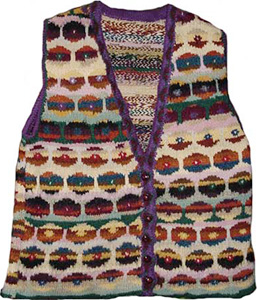 Kaffe Fassett persian poppy waistcoat knit by Sarah Bradberry
