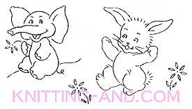 Bunny rabbit and elephant embroidery pattern