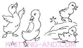 Dcuks and ducklings embroidery pattern