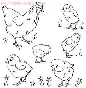 Chicken and baby chick embroidery designs