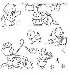 Kittens and chicks doing chores embroidery designs