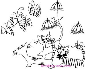 Butterflies and cats with parasols