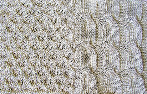 Honeycomb and cable knit quilt, knit from a Victorian era knitting pattern