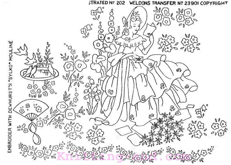 Embroidery design of a crinoline lady reading in the garden