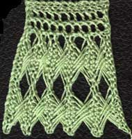 Knitted lace edging with crossed stitches