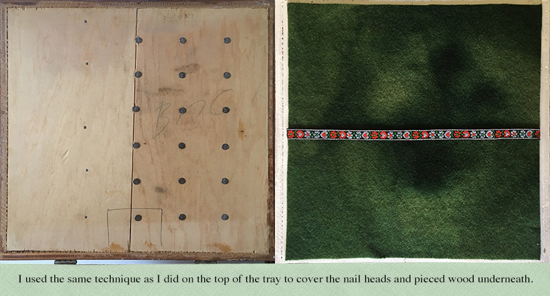 The underside of a vintage needlework box tray. Before and after being covered with wool fabric.