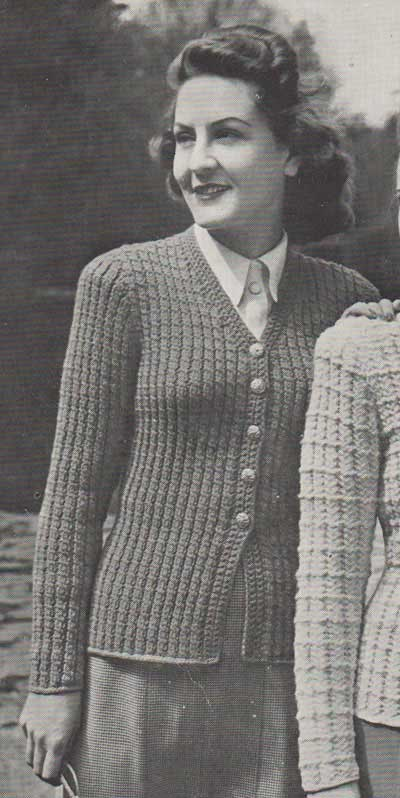 Vintage lady's cardigan with textured stitch