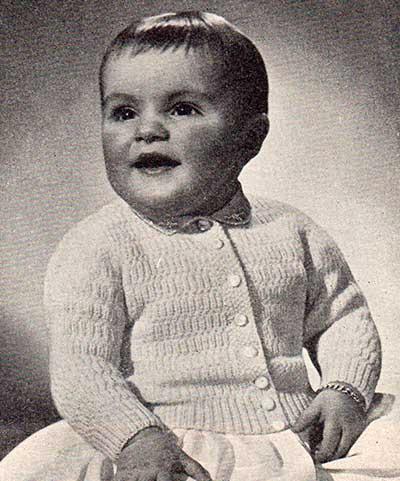 long sleeve baby cardigan in broken rib stitch
