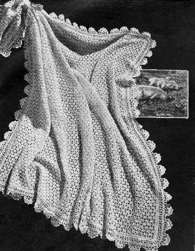 crochet lace baby shawl with scalloped border