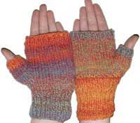 Child size knitted fingerless mitts