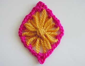 Diamonds with crocheted borders