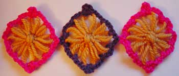 Three flower loom motifs joined together