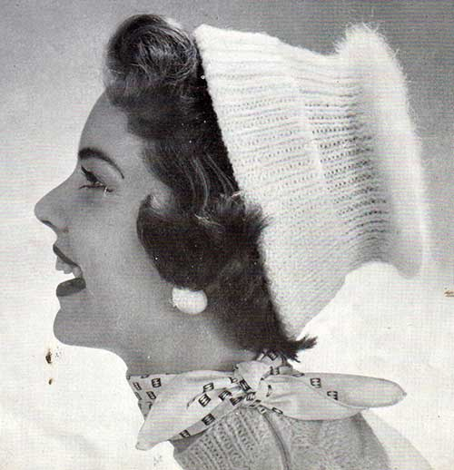 Angora mushroom beanie from a vintage pattern