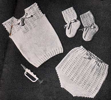 lace patterned baby vest, booties and soakers