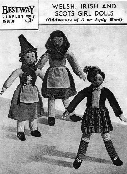 Vintage knitting pattern of Irish, Welsh and Scotts dolls