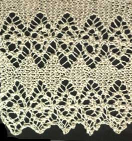 Knitted lace edging with openwork diamonds