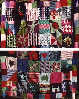 Knitted samler blanket made of various squares