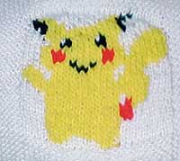 Small Pikatchu motif before outline is embroidered