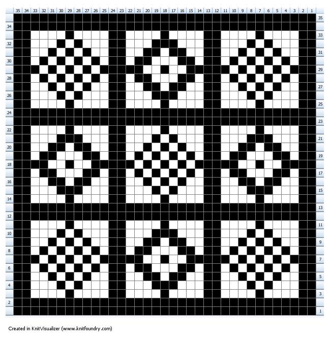 Fairisle chart for Pine vintage glove pattern