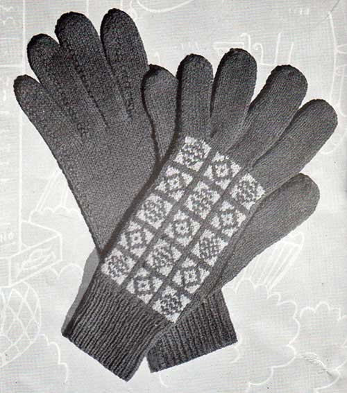 Free knitting pattern: Pine gloves for ladies, with fair-isle backs.